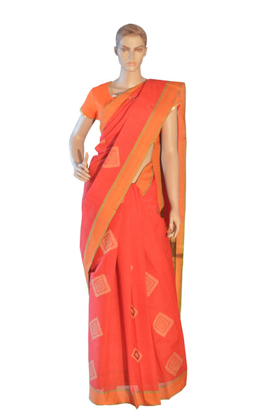 Southloom™ Premium Handloom South Cotton Red Saree With Square Design