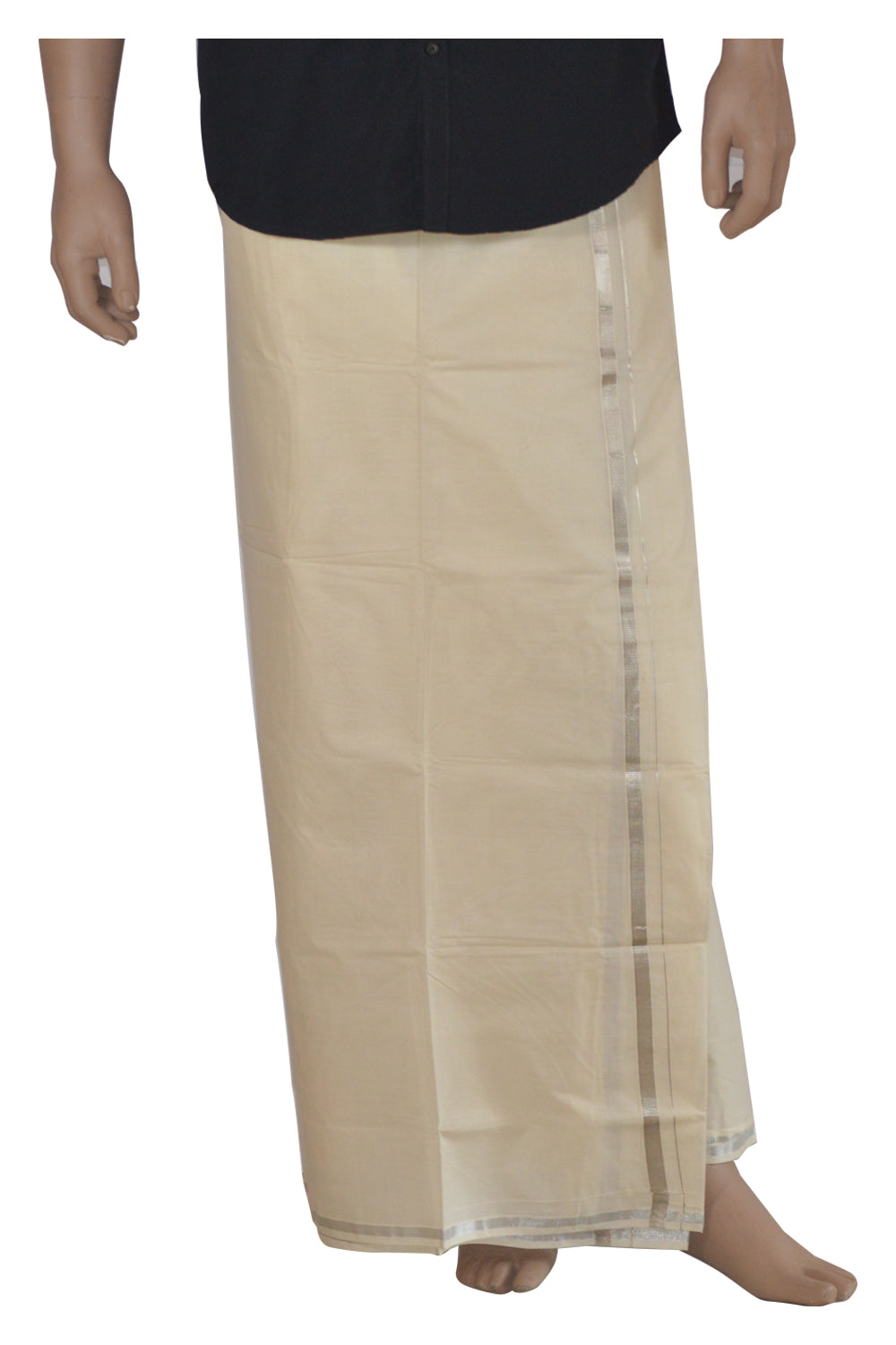 Mundu with Silver Kasavu Kara (South Indian Dhoti) 0.5 Inches