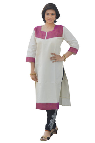 Southloom Kerala Women's Salwar / Churidar Top with Magenta Design