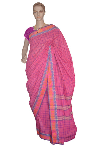 Southloom Kerala Cotton Dark Pink Saree with Check Patterns