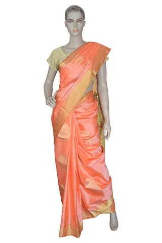 Southloom Pink Handloom Pure Soft Silk Saree with Motifs