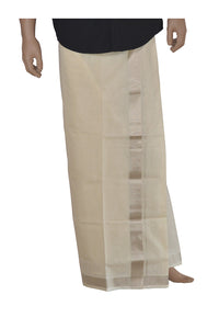 Southloom™ Balaramapuram Handloom Mundu with Silver Kasavu Kara (South Indian Dhoti) 1.5 Inch