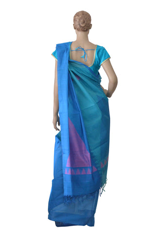 Southloom™ Premium Handloom South Cotton Blue Saree With Temple Design