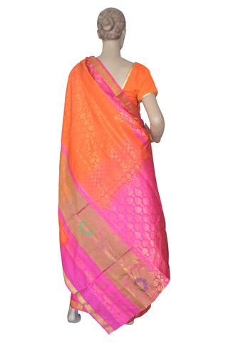 Southloom Orange Handloom Pure Soft Silk Saree with Floral Design