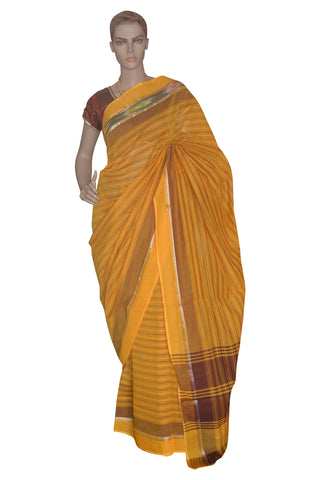 Southloom Kerala Cotton Orange Saree with Lines Design