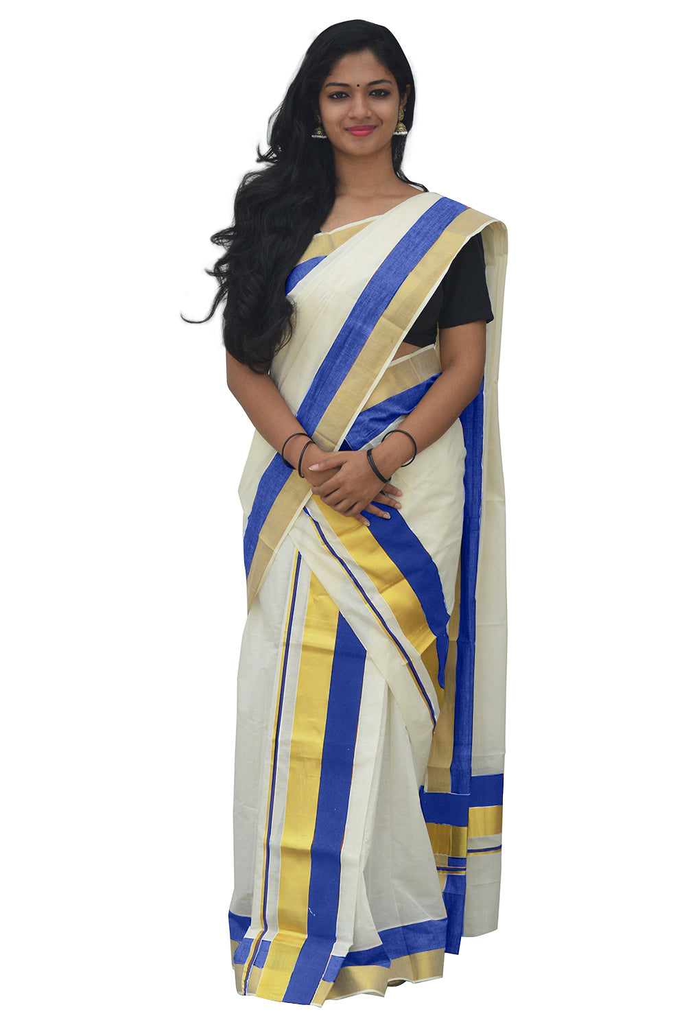 Mundum Neriyathum Single (Set Mundu) with Kasavu and Blue Border 2.80 M