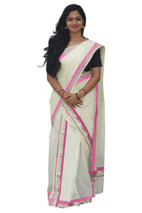 Mundum Neriyathum Single (Set Mundu) with Silver Kasavu and Pink Border 2.80 M