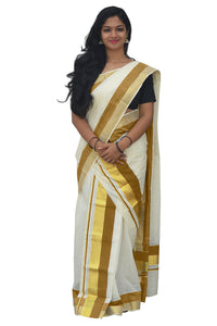 Mundum Neriyathum Single (Set Mundu) with Kasavu and Olive Yellow Border 2.80 M