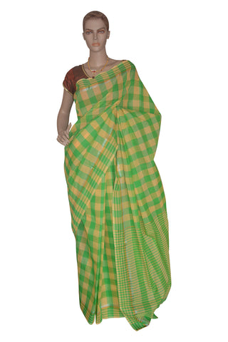 Southloom Kerala Cotton Green Saree with Check Patterns