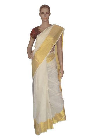 Southloom™ Kuthampully Handloom Kasavu Saree with 8 inch Pallu