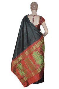 Southloom Black Handloom Pure Soft Silk Saree