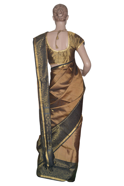 Southloom Deep Gold Handloom Pure Soft Silk Saree with Motifs