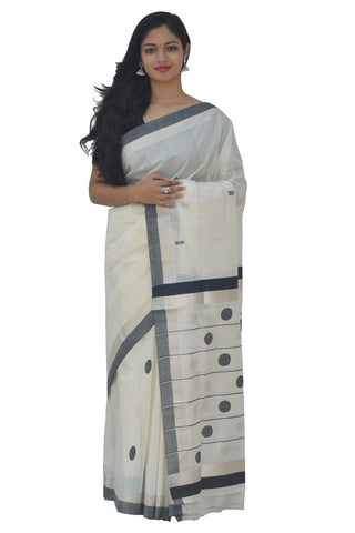 Southloom™ Handloom SIlver Kasavu Saree with Heavy Work