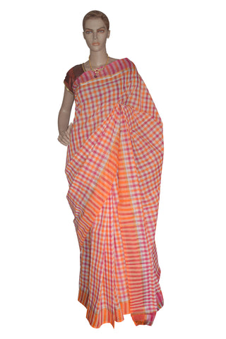 Southloom Kerala Cotton Magenta and Orange Saree with Check Patterns