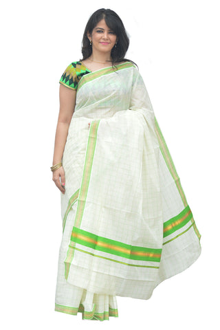 Kerala Kasavu Woven Check Saree with Light Green Border