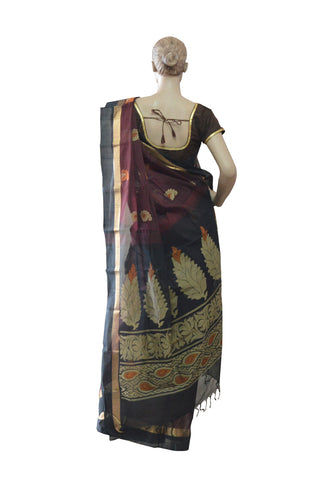 Southloom™ Premium Handloom South Cotton Dark Purple Saree With Floral Design