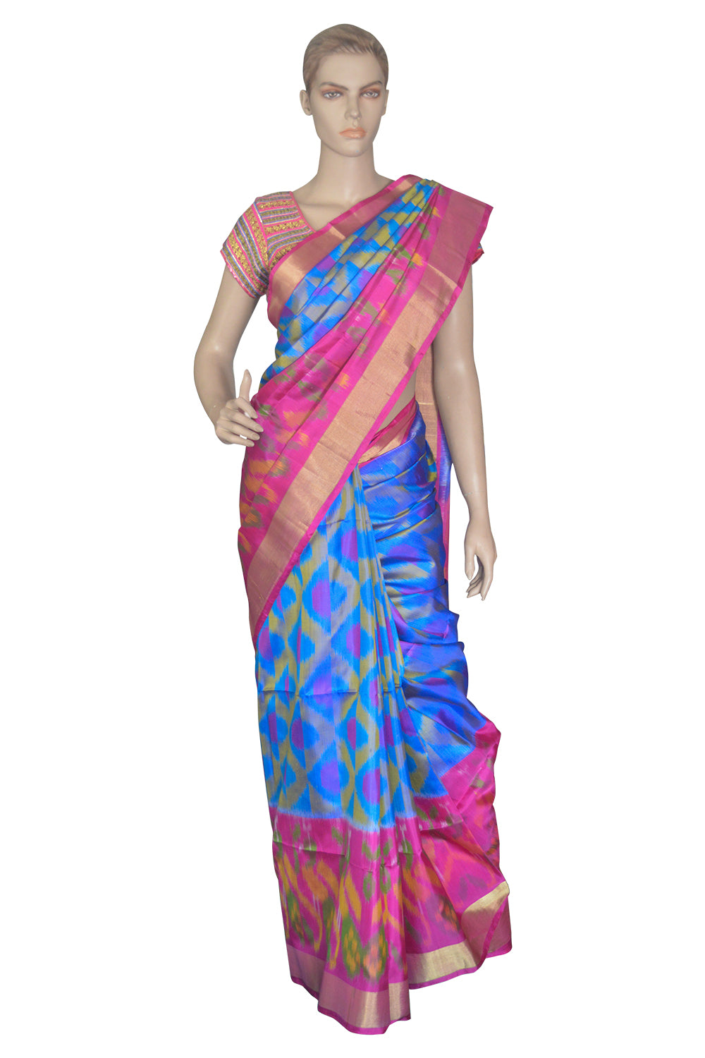 Southloom Blue and Magenta Handloom Pure Soft Silk Saree with Pochampally Design
