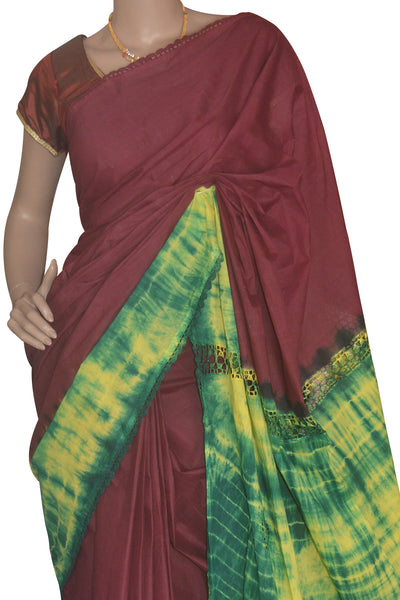 Southloom Cotton Maroon Saree with Woven Crochet Design and Green Border