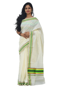 Kerala Kasavu Green and Black Colour Border Saree