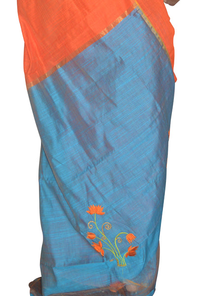 Southloom Kosa / Tussar Work Designer Orange Saree with Embroidery