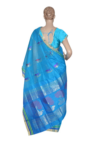 Southloom Blue Handloom Silk Cotton Saree with Floral Design