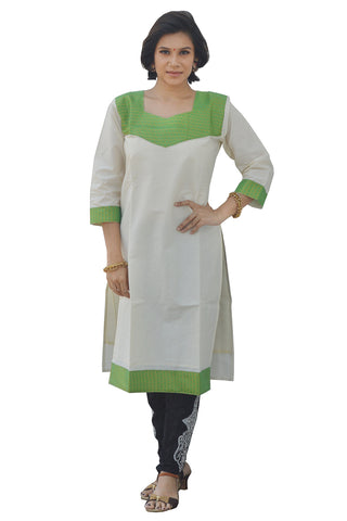 Southloom Kerala Women's Salwar / Churidar Top with Light Green Design