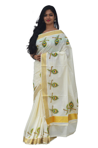 Kerala Kasavu Saree With Mural Peacock Leaf and Flute Design
