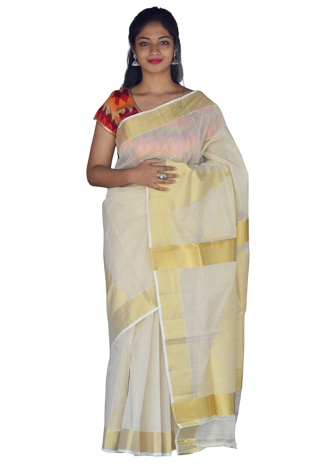 Southloom™ Handloom Tissue Kasavu Saree with Heavy Work