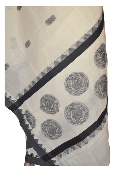 Kerala Saree with Black Paisley Art Embroidery Design