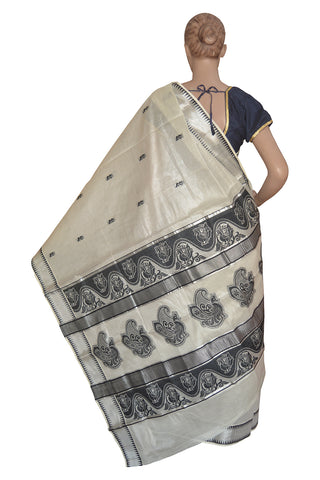 Kerala Silver Tissue Kasavu Onam Saree With Mural Peacock Temple Border