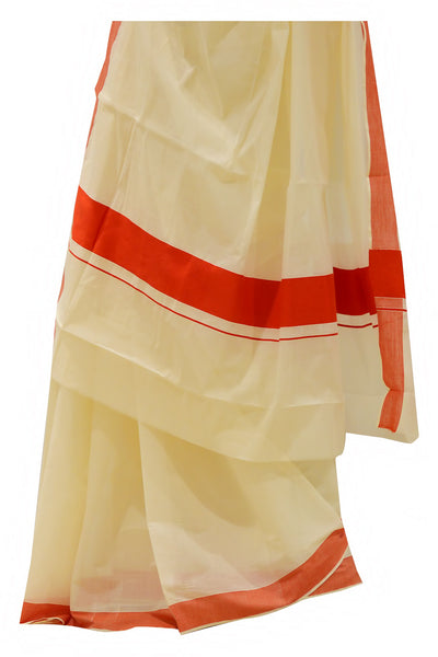 Kerala Saree with Plain Red Border