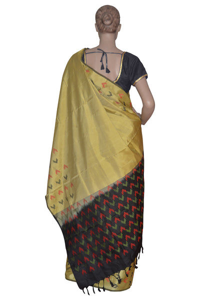 Southloom Handloom Pure Soft Silk Saree with Black and Red Motifs