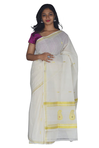 Southloom™ Handloom Kasavu Saree with Heavy Work