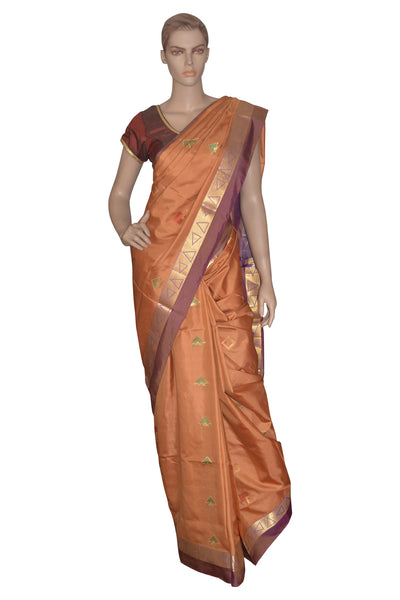 Southloom Handloom Pure Soft Silk Saree with Temple Motifs