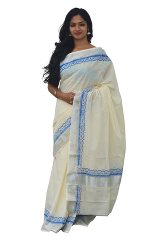 Kerala Silver Kasavu Saree with Blue Block Print
