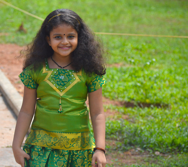 Southloom Green Pattupavada and Blouse (Traditional Ethnic Skirt and Blouse for Girls)