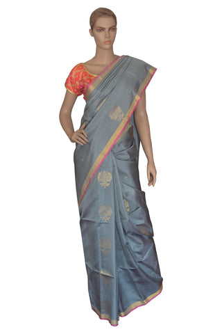 Southloom Grey Handloom Pure Soft Silk Saree with Floral Motifs