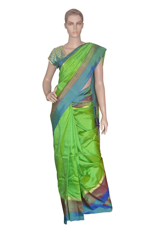Southloom Green Handloom Pure Soft Silk Saree with Lines Design
