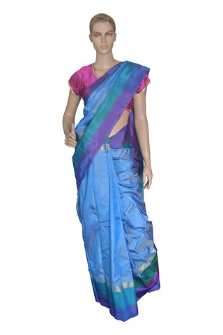 Southloom Blue Handloom Pure Soft Silk Saree with Lines Design