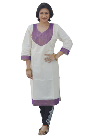Southloom Kerala Women's Salwar / Churidar Top with Lavender Colour Design