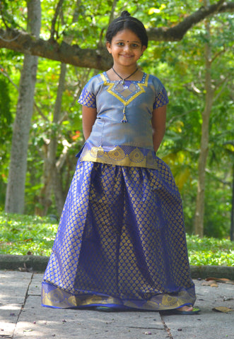 Southloom Blue Pattupavada and Blouse (Traditional Ethnic Skirt and Blouse for Girls)