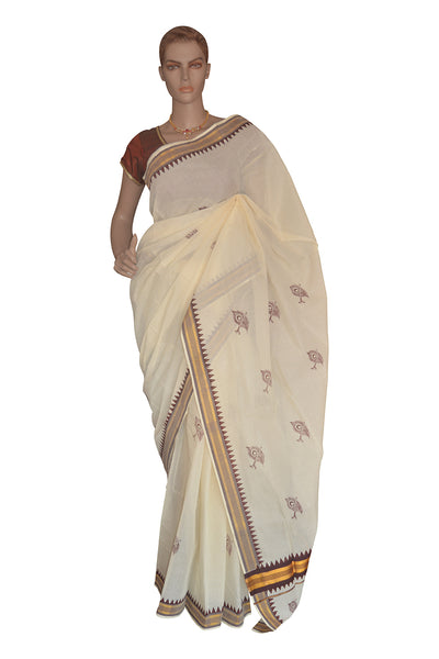 Kerala Saree with Peacock Feather Block Print and Brown Kasavu Temple Border
