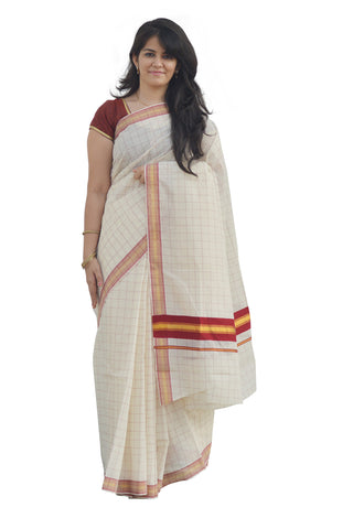 Kerala Kasavu Woven Check Saree with Crimson Red Border