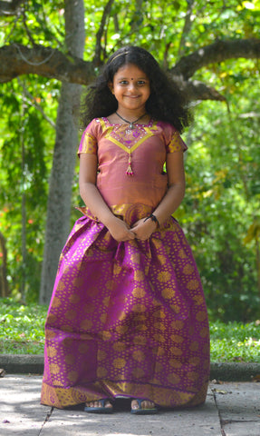 Southloom Magenta Pattupavada and Blouse (Traditional Ethnic Skirt and Blouse for Girls)