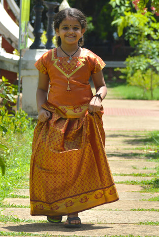 Southloom Orange Pattupavada and Blouse (Traditional Ethnic Skirt and Blouse for Girls)