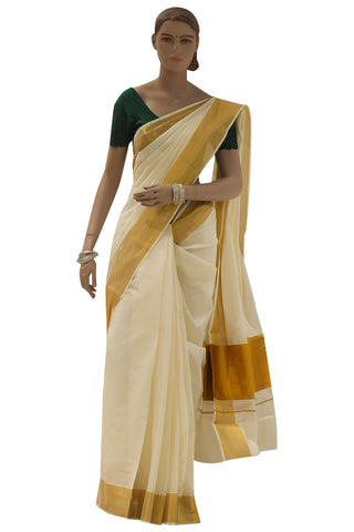 Plain Mixed Fabric Kasavu Saree with 8x4 Border