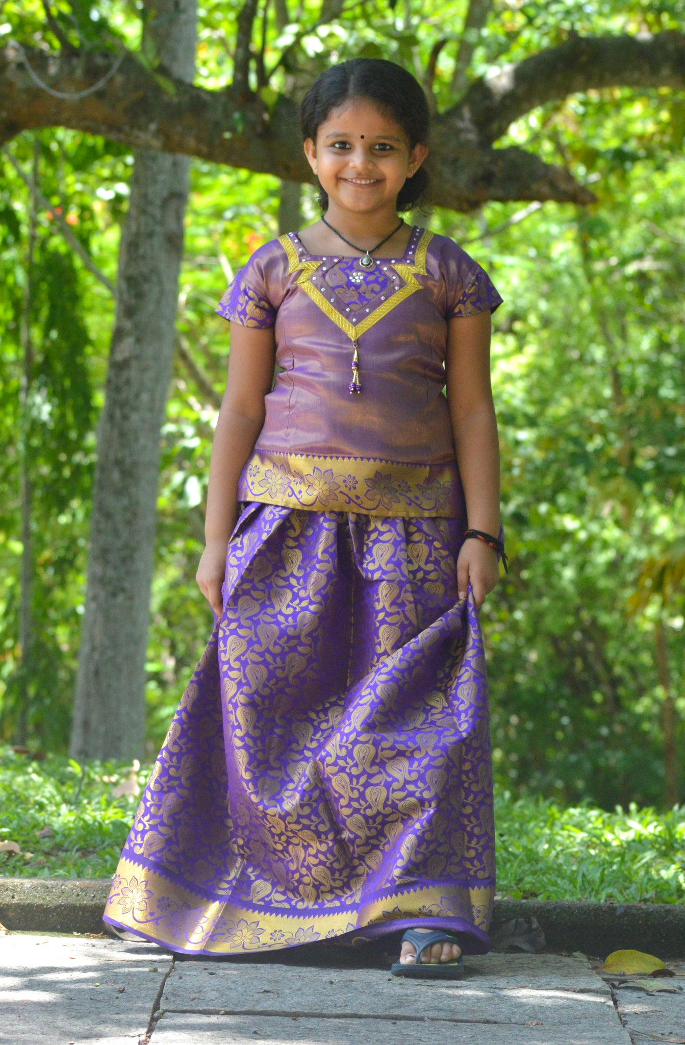 Southloom Violet Pattupavada and Blouse (Traditional Ethnic Skirt and Blouse for Girls)