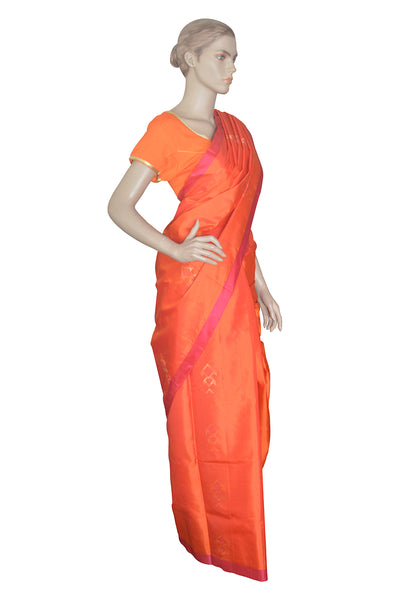 Southloom Orange Handloom Pure Soft Silk Saree with Motifs
