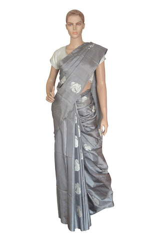 Southloom Grey Handloom Pure Soft Silk Saree with Motifs