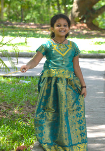Southloom Dark Green Pattupavada and Blouse (Traditional Ethnic Skirt and Blouse for Girls)